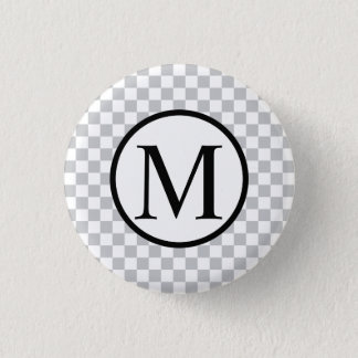 LightGreyCheckerboard 1 Inch Round Button
