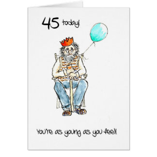 Lighthearted 45th Birthday Card for a Man