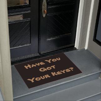 lighthearted keys reminder slogan original fun doormat