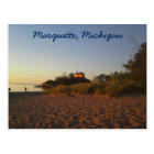 Lighthouse and beach at sunrise in Marquette Postcard