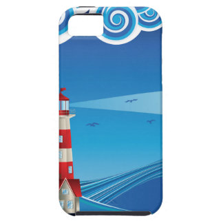 Lighthouse and Boat in the Sea 5 Case For The iPhone 5