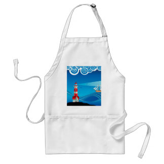 Lighthouse and Boat in the Sea 5 Standard Apron