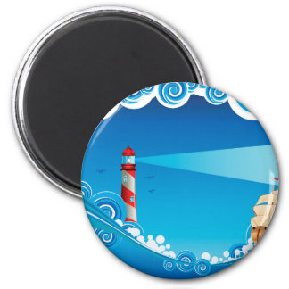 Lighthouse and Boat in the Sea 6 2 Inch Round Magnet