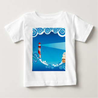 Lighthouse and Boat in the Sea 6 Baby T-Shirt