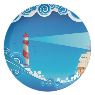 Lighthouse and Boat in the Sea 6 Party Plates