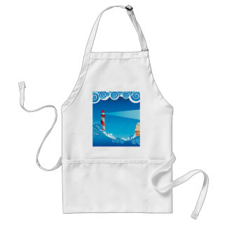Lighthouse and Boat in the Sea 6 Standard Apron