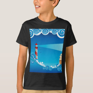 Lighthouse and Boat in the Sea 6 T-Shirt