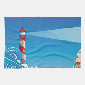 Lighthouse and Boat in the Sea 6 Towels