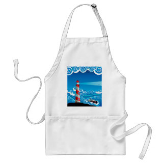 Lighthouse and Boat in the Sea 7 Standard Apron