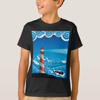 Lighthouse and Boat in the Sea 7 T-Shirt
