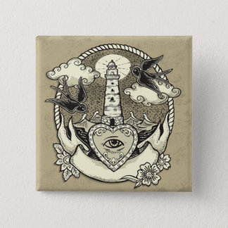 Lighthouse And Heart Tattoo 2 Inch Square Button