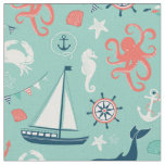 Lighthouse and Sailboats Nautical Aqua Fabric