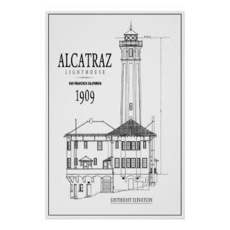 LIGHTHOUSE at ALCATRAZ ISLAND ARCHITECTURE DRAWING Poster