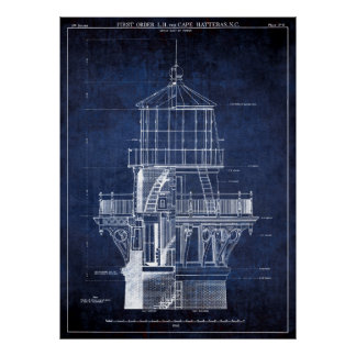 LIGHTHOUSE at CAPE HATTERAS BLUEPRINT 1869 Poster