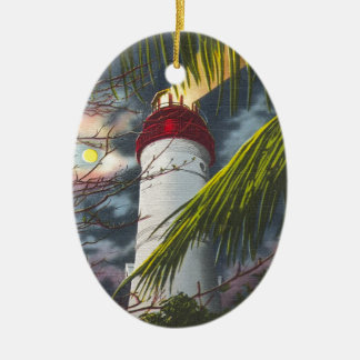 Lighthouse at night Key West, Florida Ceramic Oval Ornament