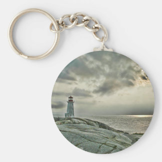 Lighthouse at Peggy's Cove Basic Round Button Keychain