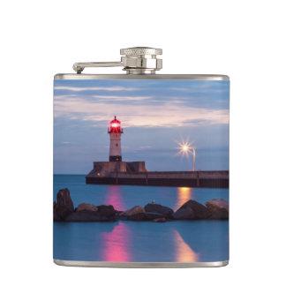 Lighthouse at sunrise photo flask