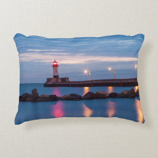 Lighthouse at sunrise photo throw pillow