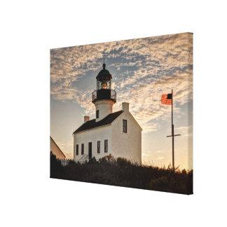 Lighthouse at sunset, California Canvas Print