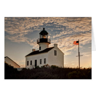 Lighthouse at sunset, California Card