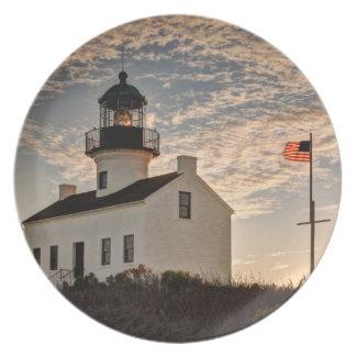 Lighthouse at sunset, California Plates