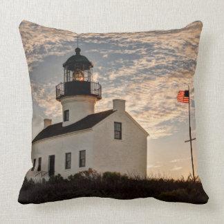 Lighthouse at sunset, California Throw Pillow