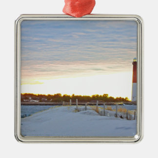 Lighthouse at Sunset Metal Ornament