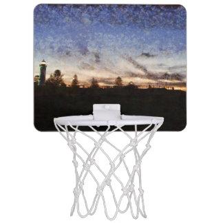 Lighthouse at sunset mini basketball hoop