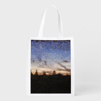 Lighthouse at sunset reusable grocery bag