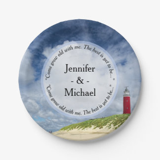 Lighthouse At The Beach Casual Wedding 7 Inch Paper Plate