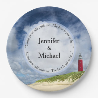 Lighthouse At The Beach Casual Wedding 9 Inch Paper Plate