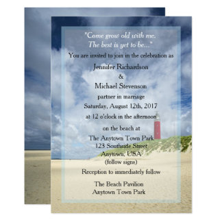 Lighthouse At The Beach Casual Wedding Card