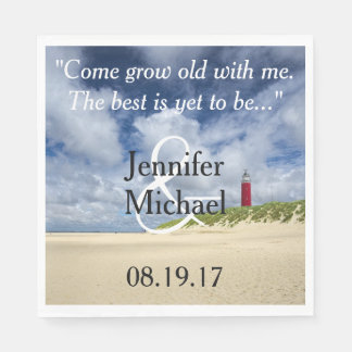 Lighthouse At The Beach Casual Wedding Paper Napkin