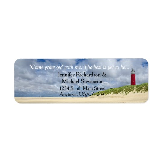 Lighthouse At The Beach Casual Wedding Return Address Label