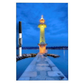 Lighthouse at the Paquis, Geneva, Switzerland Dry Erase Board