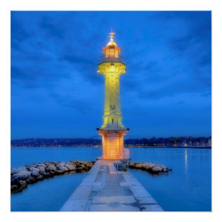 Lighthouse at the Paquis, Geneva, Switzerland Perfect Poster