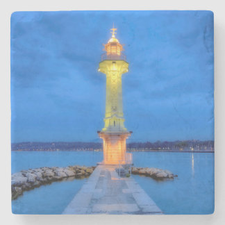 Lighthouse at the Paquis, Geneva, Switzerland Stone Coaster