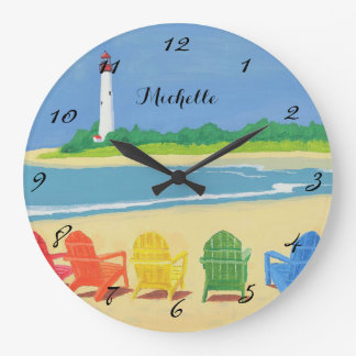 Lighthouse & Beach Chairs Personalized Wall Clock