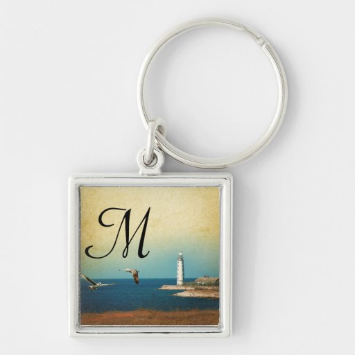 Lighthouse Beach Scene Key Chain