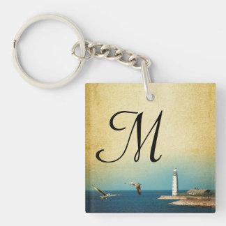 Lighthouse Beach Scene Key Chain