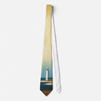 Lighthouse Beach Scene Mens Tie