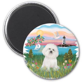 Lighthouse - Bichon Frise #4 2 Inch Round Magnet