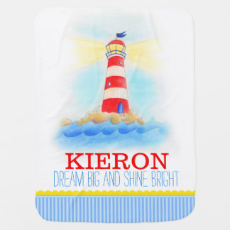 Lighthouse blue white boys name baby blanket