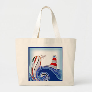 Lighthouse Boat on Stormy Abstract Seas Jumbo Tote Bag