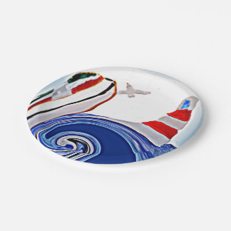 Lighthouse Boat on stormy seas 7 Inch Paper Plate