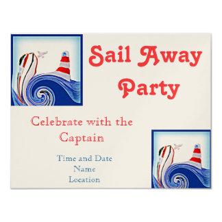 "Lighthouse Boat on Stormy Seas Art 4.25"" X 5.5"" Invitation Card"