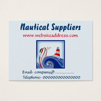 Lighthouse Boat on Stormy Seas Art Business Card