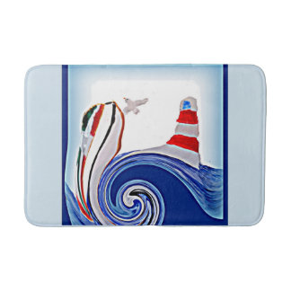 Lighthouse Boat on Stormy Seas Bath Mat