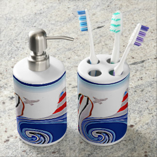 Lighthouse Boat on Stormy Seas Soap Dispenser And Toothbrush Holder