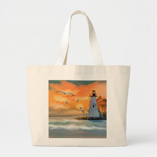 Lighthouse by sunset large tote bag